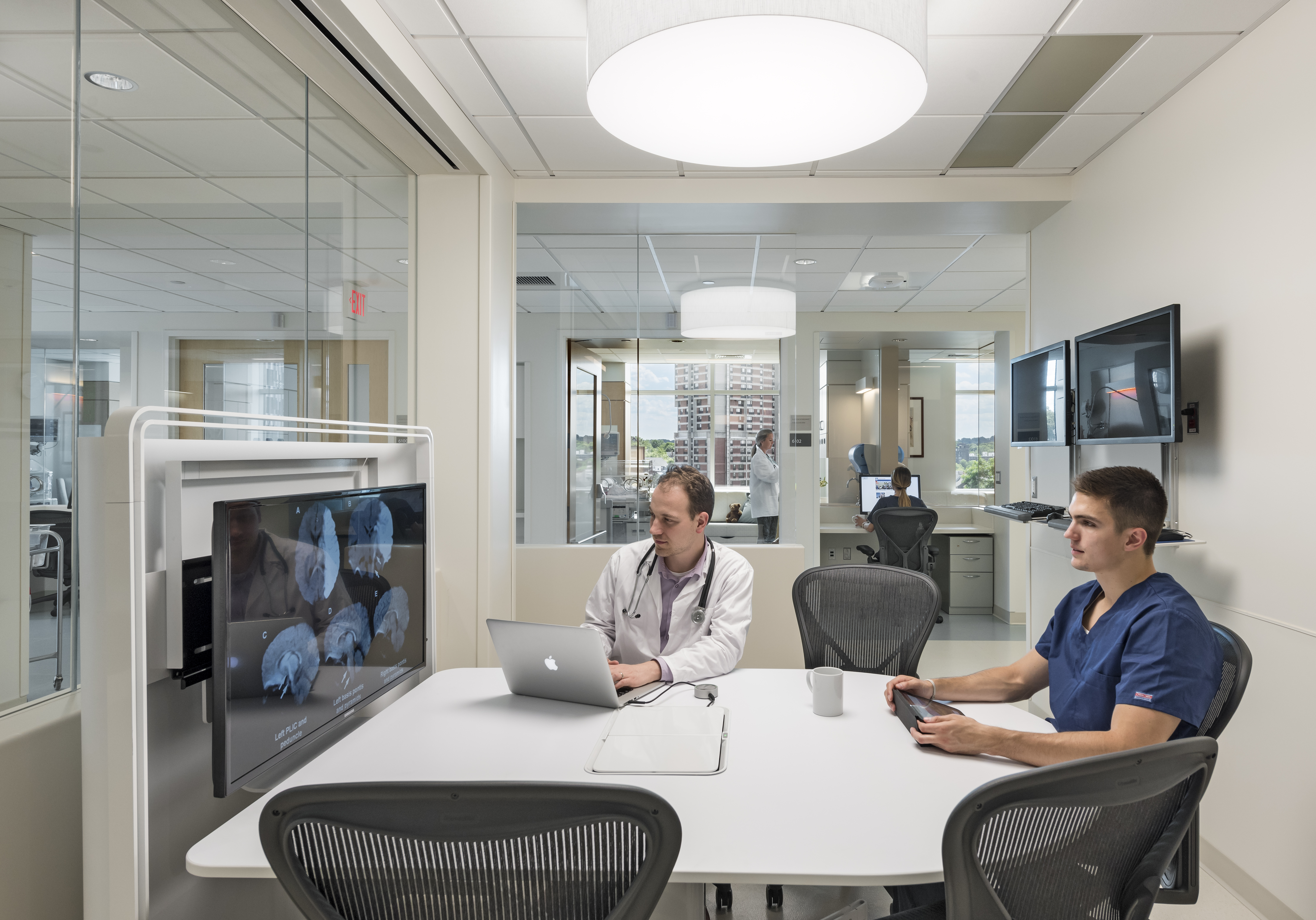 Touch-down areas facilitate collaboration between specialists