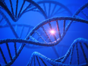 3D rendering of DNA double helix on a blue background.