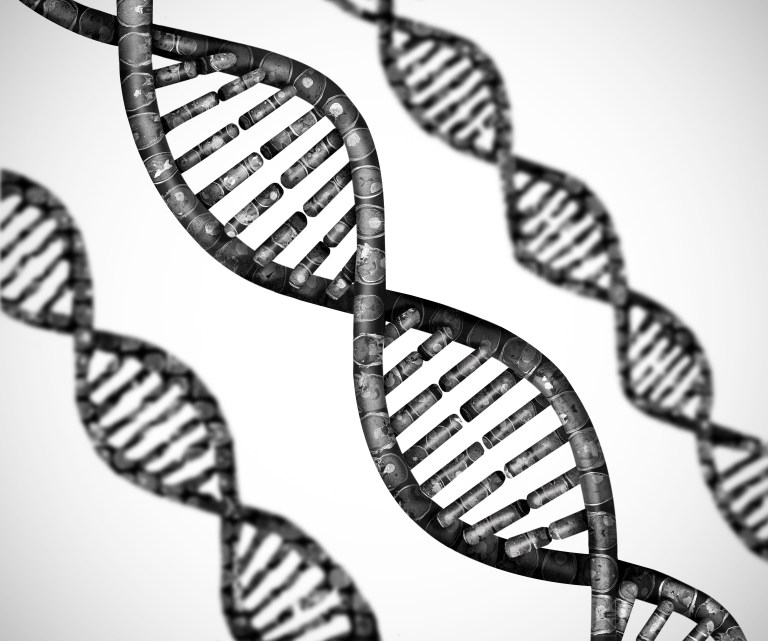 black and white image of DNA double helix