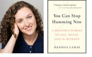 "Daniella Lamas headshot and cover of her new book ""You Can Stop Humming Now"""