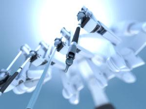 3D illustration of surgical robot on white background