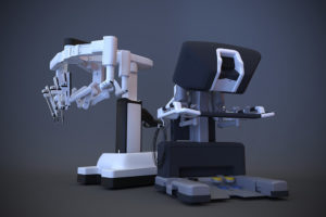 3D illustration of surgical robot on white background