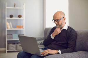 Man having virtual doctor's visit
