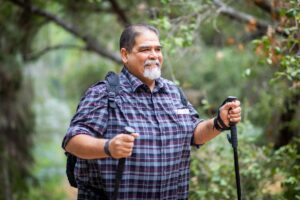 Overweight man hiking
